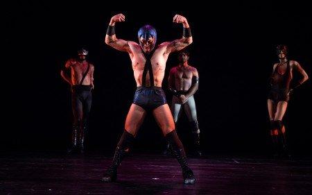 "Armitage Gone! Dance members Ahmaud Culver, Yusaku Komori, Alonso Guzman, and Cristian Laverde-Koenig in Karole Armitage's ""Donkey Jaw Bone"" Photo by Steven Pisano"