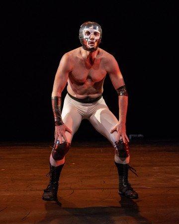 "Armitage Gone! Dance member Cristian Laverde-Koenig in Karole Armitage's ""Donkey Jaw Bone"" Photo by Steven Pisano"