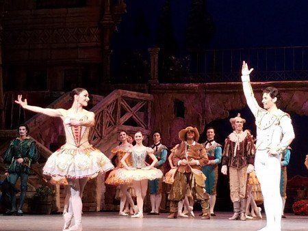 "Sarah Lane, Herman Cornejo, and members of the company during the curtain calls for American Ballet Theatre's ""Don Quixote"" Photo by Jerry Hochman"