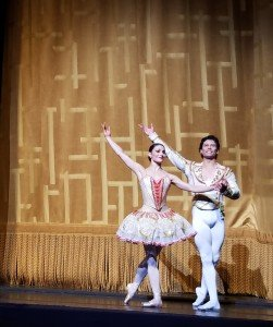 "Sarah Lane and Herman Cornejo during the curtain calls for American Ballet Theatre's production of ""Don Quixote"" last season Photo by Jerry Hochman"