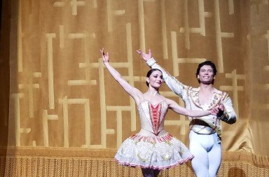 "Sarah Lane and Herman Cornejo  during the curtain calls  for American Ballet Theatre's  production of  ""Don Quixote""   Photo by Jerry Hochman"