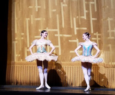 "Betsy McBride and Skylar Brandt during the curtain calls for American Ballet Theatres ""Don Quixote"" Photo by Jerry Hochman"