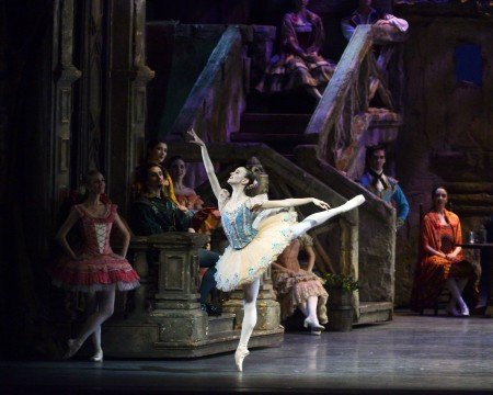 "Skylar Brandt and members of American Ballet Theatre in a prior performance of ""Don Quixote"" Photo by Gene Schiavone"