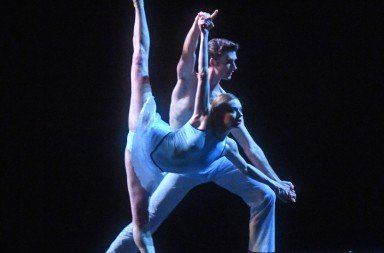 "Barak Ballet dancer Julia Erickson,  here with Thomas Brown,  in a prior performance of ""E/Space""   Photo by Dave Friedman"