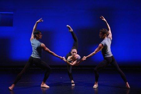 "Dimensions Dance Theatre of Miami dancers (l-r) Josue Justiz, Gabriela Mesa, and Fabian Morales in Ariel Rose's ""Esferas"" Photo by Simon Soong"
