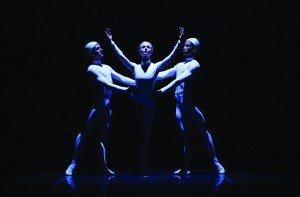 "(l-r) Sarasota Ballet's Ricardo Graziano, Victoria Hulland, and Ricardo Rhodes in Sir Frederick Ashton's ""Monotones II"" Photo by Frank Atura"