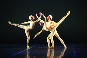 "Sarasota Ballet's Ryoko Sadoshima and Samantha Benoit, here with Alex Harrison, in Sir Frederick Ashton's ""Monotones I"" Photo by Frank Atura"