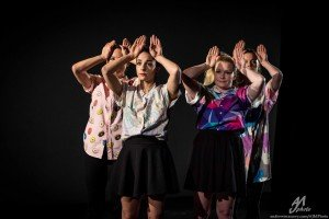 "Inclined Dance Project dancers (l-r) Shannon McGee, Jillian Pager, Amy Campbell, and Leighann Curd in Kristen Klein's ""Sometimes I Can't Find My Good Habits"" Photo by Andrew J. Mauney"