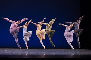 "Pacific Northwest Ballet dancers  in Jerome Robbins's  ""Dances at a Gathering""   Photo by Angela Sterling"