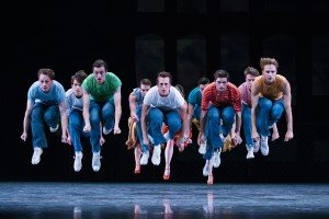"Pacific Northwest Ballet dancer Ezra Thompson (center) and members of the company in Jerome Robbins's ""West Side Story Suite"" Photo by Angela Sterling"