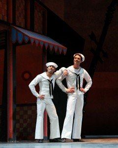 "American Ballet Theatre dancers Herman Cornejo and Cory Stearns in Jerome Robbins's ""Fancy Free"" Photo Marty Sohl"