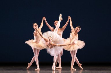 "Christine Shevchenko  and members of American Ballet Theatre  in George Balanchine's  ""Symphonie Concertante""   Photo by Rosalie O'Connor"