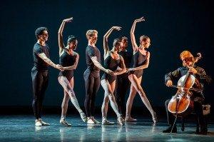 "Boston Ballet dancers in Jorma Elo's ""Bach Cello Suites"" Sergey Antonov on Cello Photo by Stephanie Berger."