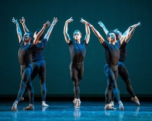 "Derek Dunn (center) and Boston Ballet dancers in Jorma Elo's ""Bach Cello Suite"" Photo by Stephanie Berger"