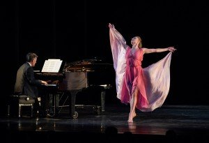 "Sara Mearns in Lori Bellilove's ""Dances of Isadora, A Solo Tribute"" Cameron Grant on piano Photo by Stephanie Berger."