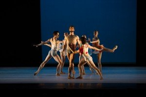 "James Whiteside (center) and members of Gemma Bond Dance in ""Inner Voices"" Photo by Paula Lobo"