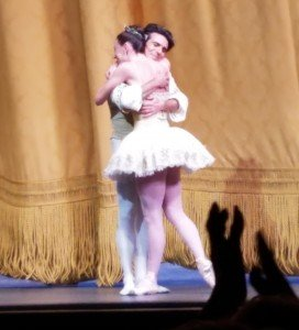 "Joaquin De Luz and Tiler Peck following their performance in George Balanchines ""Theme and Variations"" at his Farewell Celebration Photo by Jerry Hochman"