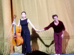 "Joaquin De Luz with Ann Kim following his performance in Jerome Robbins's ""A Suite of Dances"" at his Farewell Celebration Photo by Jerry Hochman"