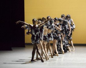 """Taylor Stanley (front) and members of New York City Ballet in Kyle Abraham's """"The Runaway"""" Photo by Paul Kolnik"""