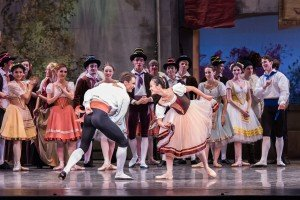 """Peter Franc, Xuan Cheng, and Oregon Ballet Theater dancers in August Bournonville's """"Napoli"""" Photo by Jingzi Zhao."""