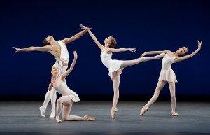 "(l-r) Xander Parish, Anastasia Nuikina, Daria Ionova, and Maria Khoreva of The Mariinsky Ballet in George Balanchine's ""Apollo"" Photo by Paul Kolnik"