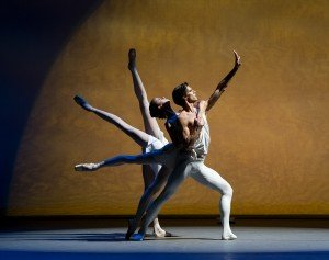 "Maria Khoreva, Xander Parish, Daria Ionova, and Anastasia Nuikina (both hidden) of the Mariinsky Ballet in George Balanchine's ""Apollo"" Photo by Paul Kolnik"