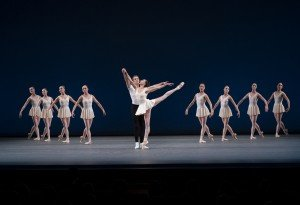 """Maria Kowroski, Russell Janzen, and members of The New York City Ballet in George Balanchine's """"Concerto Barocco"""" Photo by Paul Kolnik"""