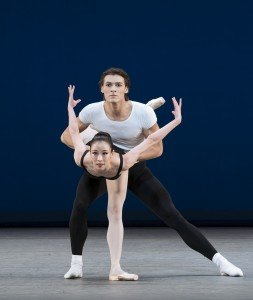 """Sae-Eun Park and Hugo Marchand of Paris Opera Ballet in the pas de deux from George Balanchine's """"Agon"""" Photo by Paul Kolnik"""