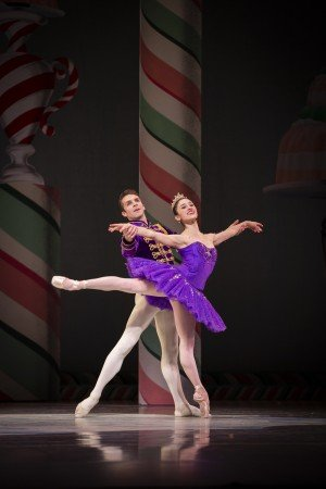 "Pacific Northwest Ballet dancers Leta Biasucci and Lucien Postlewaite in ""George Balanchine's 'The Nutcracker'"" Photo by Angela Sterling"