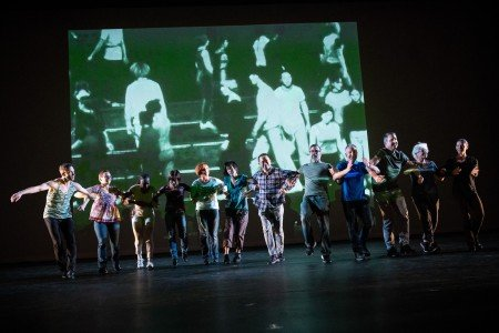"""Twyla Tharp Dancer members Ron Todorowski (far l) and Mary Beth Hansohn (far r) with volunteers in a scene from """"Minimalism and Me"""" Photo by Ian Douglas"""