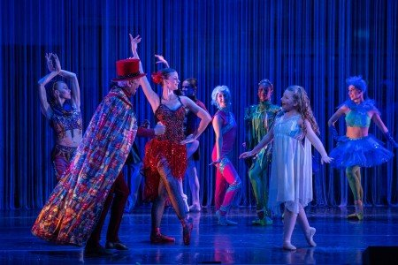 """Ruth Bronwen Whitney (far left), Gianni Di Marco, Kirsten Glaser, Mae Anthony, and cast in Anthony Williams's """"Urban Nutcracker"""" Photo by Corwin Wickersham"""