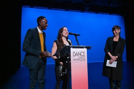 "Dance Magazine Awardees Ephrat ""Bounce"" Asherie and Raja Feather Kelly, with Joan Finkelstein Photo by Christopher Duggan"