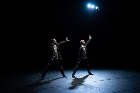 """Michael Gross and Andrew Murdock appearing at the Dance Magazine Awards in Crystal Pite's """"The Other You"""" Photo by Christopher Duggan"""