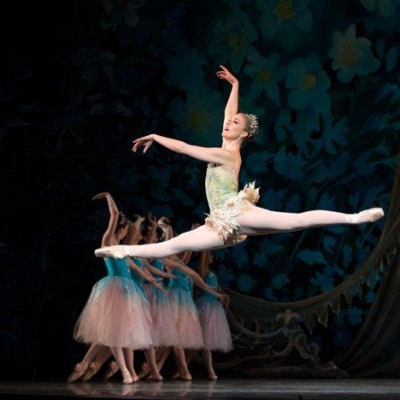 """Oregon Ballet Theatre dancer Candace Bouchard and members of the company in OBT's prduction of """"George Balanchine's 'The Nutcracker'"""" Photo by James McGrew"""