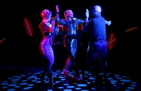 """Chase Brock Experience dancers Jane Abbott, Amber Barbee Pickens, and James Koroni in """"The Girl with the Alkaline Eyes"""" Photo by Michael Kushner Photography"""