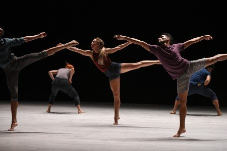 "(l-r) Osnel Delgado, Beatriz Garcia, Maria Karla Araujo, Esteban Aguilar, and Fernando Benet, of Malpaso Dance Company in Ohad Naharin's ""Tabula Rasa"" Photo by Nir Arieli"