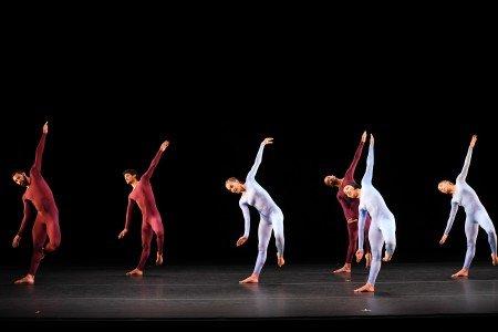 "(l-r) Abel Rojo, Armando Gomez, Dunia Acosta, Osnel Delgado, Daileidys Carrazana, and Maria Karla Araujo of Malpaso Dance Company in Merce Cunningham's ""Fielding Sixes"" Photo by Nir Arieli"