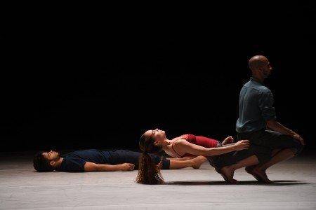 "(l-r) Fernando Benet, Dunia Acosts,  and Osnel Delgado of Malpaso Dance Company  in Ohad Naharin's ""Tabula Rasa"" Photo by Nir Arieli"