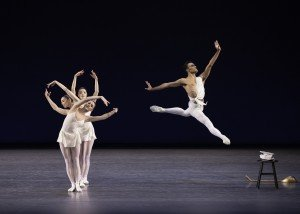 """Taylor Stanley and (clockwise from left) Brittany Pollack, Indiana Woodward and Tiler Peck in George Balanchine's """"Apollo"""" Photo by Erin Baiano"""
