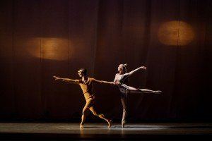 """Ask la Cour and Teresa Reichlen in George Balanchine's """"Orpheus"""" Photo by Paul Kolnik"""