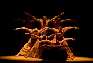 Alvin Ailey American Dance THeater in Alvin Ailey's Revelations. photo by Nan Melville
