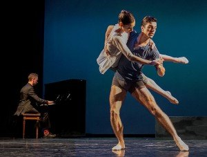 "Diablo Ballet dancers  Jackie McConnell and Maxwell Simoes, with composer Justin Levitt, in Tina Kay Bohnstedt's  ""From Another Time"" Photo by Bilha Sperling"