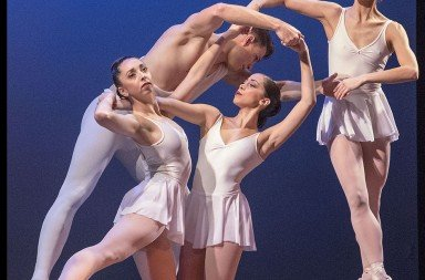 "Diablo Ballet dancers  (l-r) Raymond Tilton, Jordan Tilton,  Rosselyn Ramirez and Amanda Farris  in George Balanchine's ""Apollo""  Photo by Bilha Sperling"