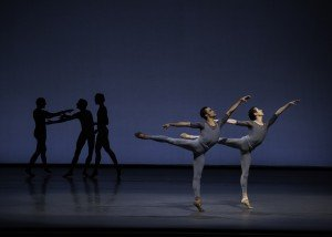 "Taylor Stanley, Daniel Applebaum, and members of New York City Ballet in Justin Peck's ""Principia"" Photo by Erin Baiano"