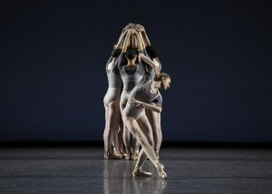 "Miriam Miller (foreground) and members of New York City Ballet in Justin Peck's ""Principia"" Photo by Erin Baiano"