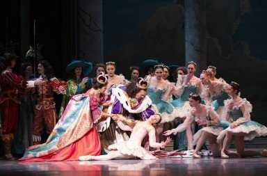 "Leta Biasucci (center) and Pacific Northwest Ballet dancers  in Ronald Hynd's ""The Sleeping Beauty""  Photo by Angela Sterling"