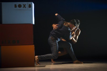"Ballet Hispánico dancers Raúl Contreras and Omar Rivera  in Bennyroyce Royon's ""Homebound/Alaala"" Photo by Paula Lobo"