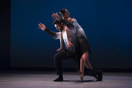 """Ballet Hispánico dancers  Eila Valls and Jared Bogart  in Edwaard Liang's """"El Viaje"""" Photo by Paula Lobo"""