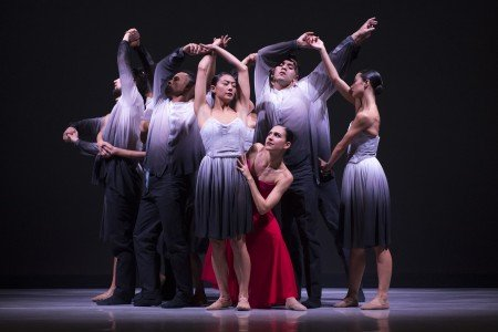 """Melissa Verdecia and Ballet Hispánico dancers  in Edwaard Liaing's """"El Viaje"""" Photo by Paula Lobo"""