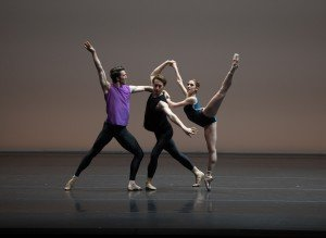 """(l-r) Roddy Doble, Patrick Yocum, and Hannah Bettes in William Forsythe's """"Pas/Parts 2018"""" Photo by Rosalie O'Connor,"""